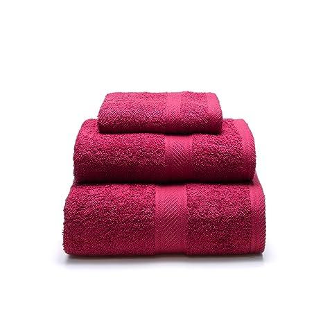 Sancarlos - Juego de 3 toallas YANAI, 100% Algodón, Color Rojo