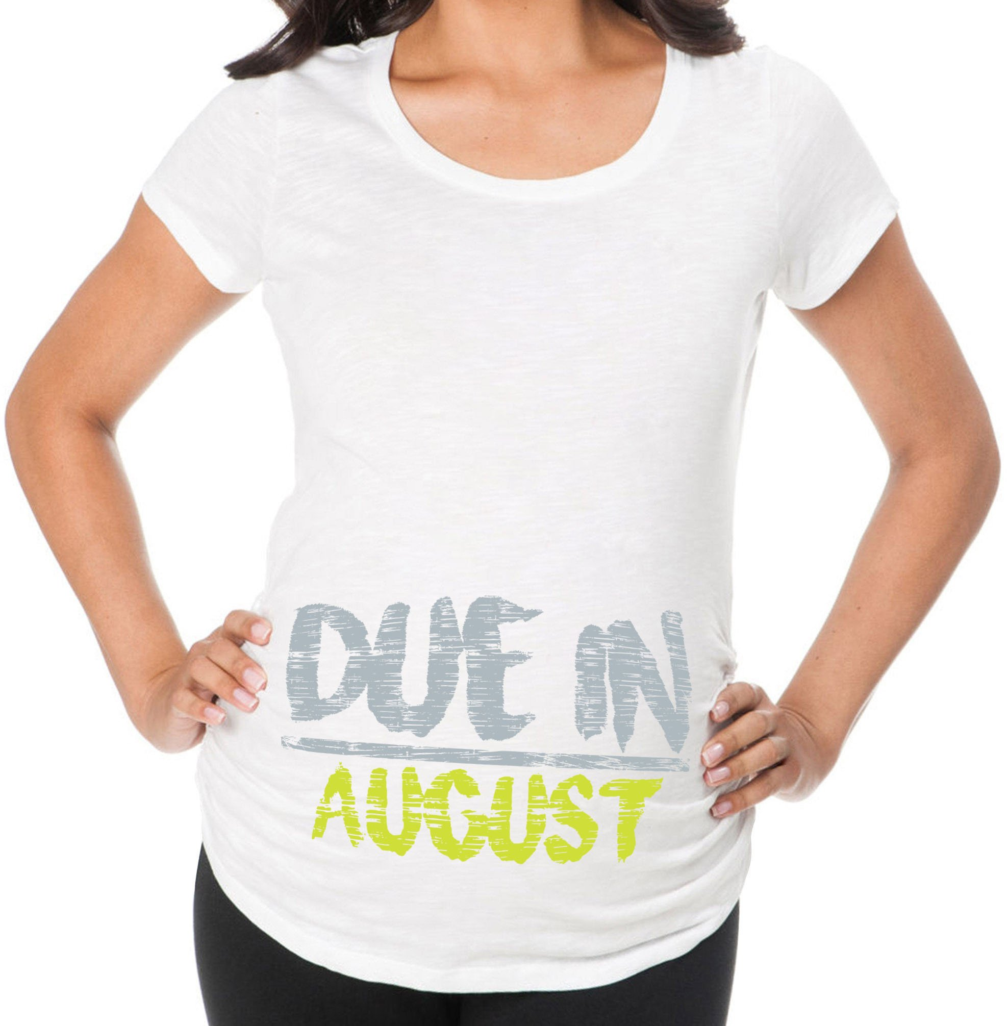 Awkward Styles Due in August Pregnancy Announcement Maternity T Shirt Mom to Be Birth Announcement White 2XL