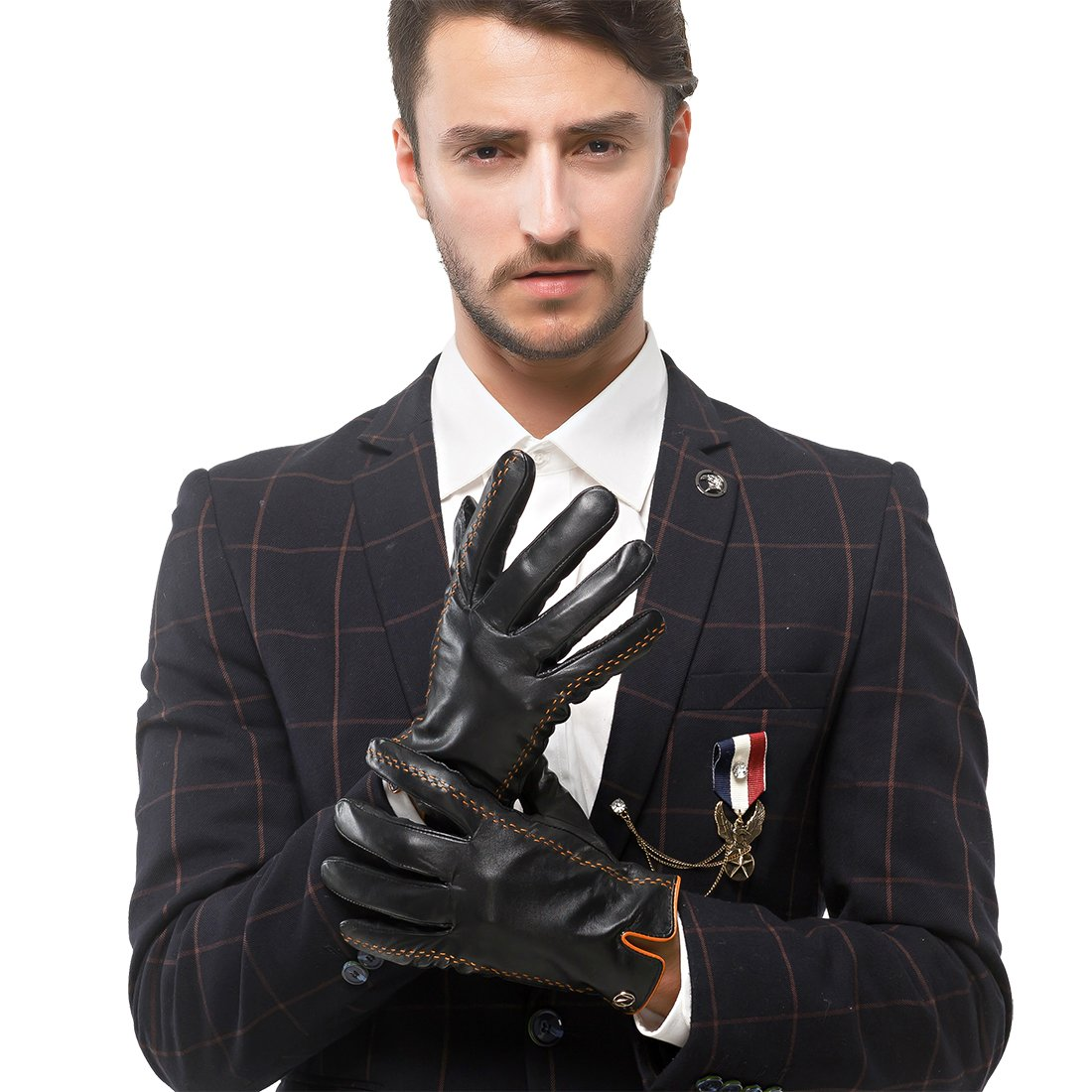 Nappaglo Men's Italian Nappa Leather Gloves Touchscreen Lambskin Warm Gloves with Lines of Hit Color (S (Palm Girth:up to 8''), Black (Touchscreen)) by Nappaglo (Image #3)