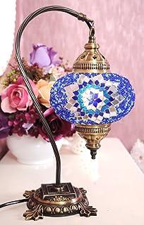 New BOSPHORUS Stunning Handmade Swan Neck Turkish Moroccan Mosaic Glass Table  Desk Bedside Lamp Light With