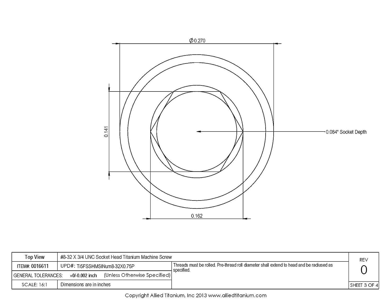 1033774001 #8-32 X 3//4 UNC Socket Head Machine Screw Inc Ti-6Al-4V Grade 5 Allied Titanium 0016611, Pack of 10