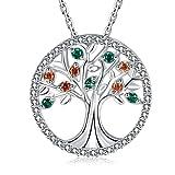 MEGA CREATIVE JEWELRY - Joyería Collar de Árbol de la Vida 925 Plata Esterlina Colgantes Mujer Estilo Swarovski Crystal, Regalos Dama