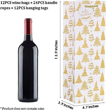 Hemoton - Paquete de 12 bolsas para botellas de vino de Navidad con etiquetas con el nombre de dibujos de impresión de Navidad para vacaciones, ...