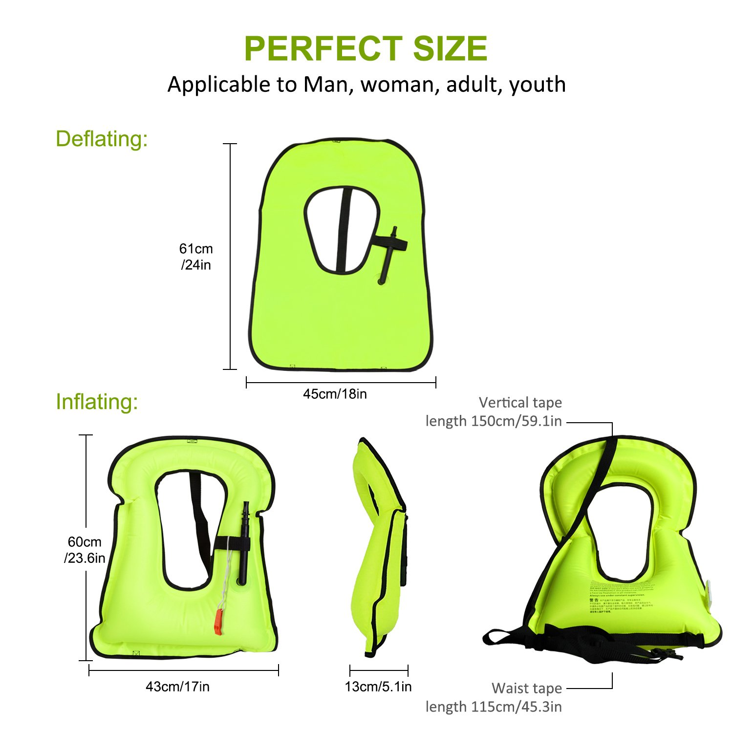 LOBKIN Men/Women Snorkel Vest Adult Inflatable Snorkeling Jacket Diving Swimming Safety Jacket (Green)