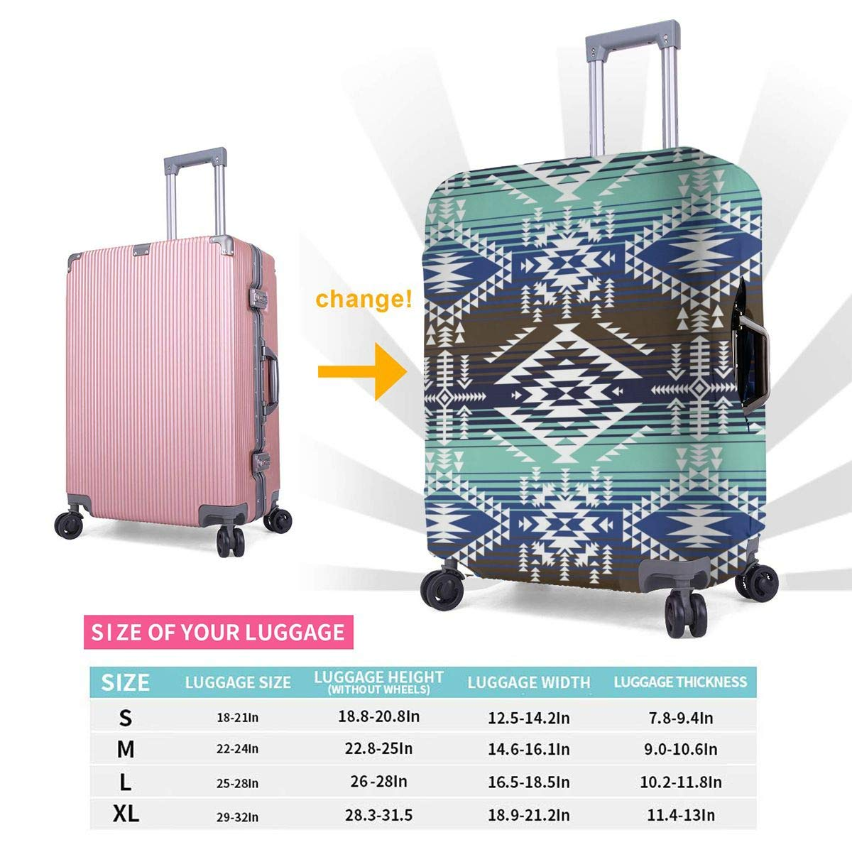 Colors Tribal Navajo Pattern Travel Luggage Cover Spandex Washable Suitcase Protector Baggage Covers Fits 18 To 32 Inch