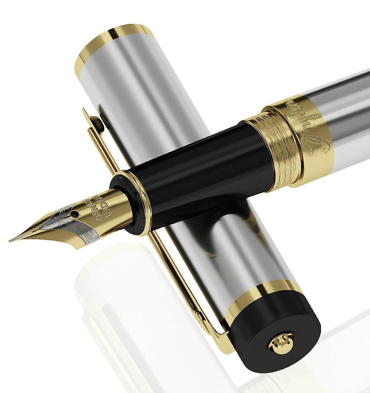 Pluma estilográfica plateada, Dryden Luxury (xmp)