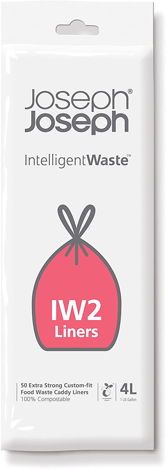 Joseph Joseph 30007 Intelligent IW2 Bin Liners Custom Fit Bags for Food Waste Caddy 1 Gallon / 4 Liter 100% Compostable, Pack of 50, Clear