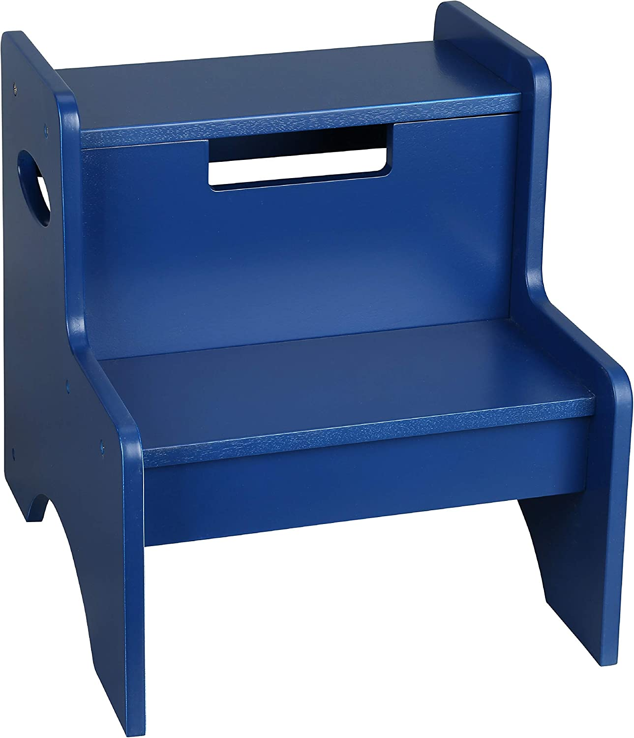 Wildkin Kids Wooden Two-Step Stool for Kids and Adults, Perfect for Kitchen or Bathroom Use, Stepping Stool Features Two Convenient Carrying Handles, Suitable for Individuals Up to 200lbs (Navy Blue)