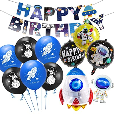48pcs Outer Space Theme Birthday Party Decor Kit,Astronaut Balloons Rocket Balloons Happy Birthday Banner for Birthday Party Supplies Galaxy Theme Party Decorations: Toys & Games