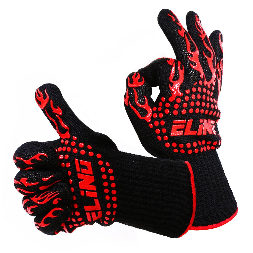 Heat Resistant Gloves Perfect For BBQ Glove Grilling Cooking Hot Ovens Gloves Protect Your Hands From Extreme Heat Double Layered fireplace gloves Without Fear 100% Cotton Inner (1 Pair) 932°F (30 CM)
