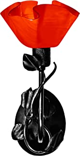 product image for Jezebel Radiance BRSC-B-MA-LP12-RER Lily Style Black Branch Sconce with Magnolia Leaves, Fiery Red