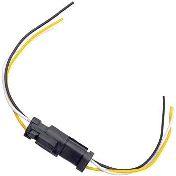 APDTY 133813 3 Wire Universal Weatherproof Wiring Harness Pigtail Connector on