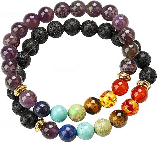 7 Chakra Balance Healing Energy Gemstone Bracelet Bangles Lava Rock Beads Gifts