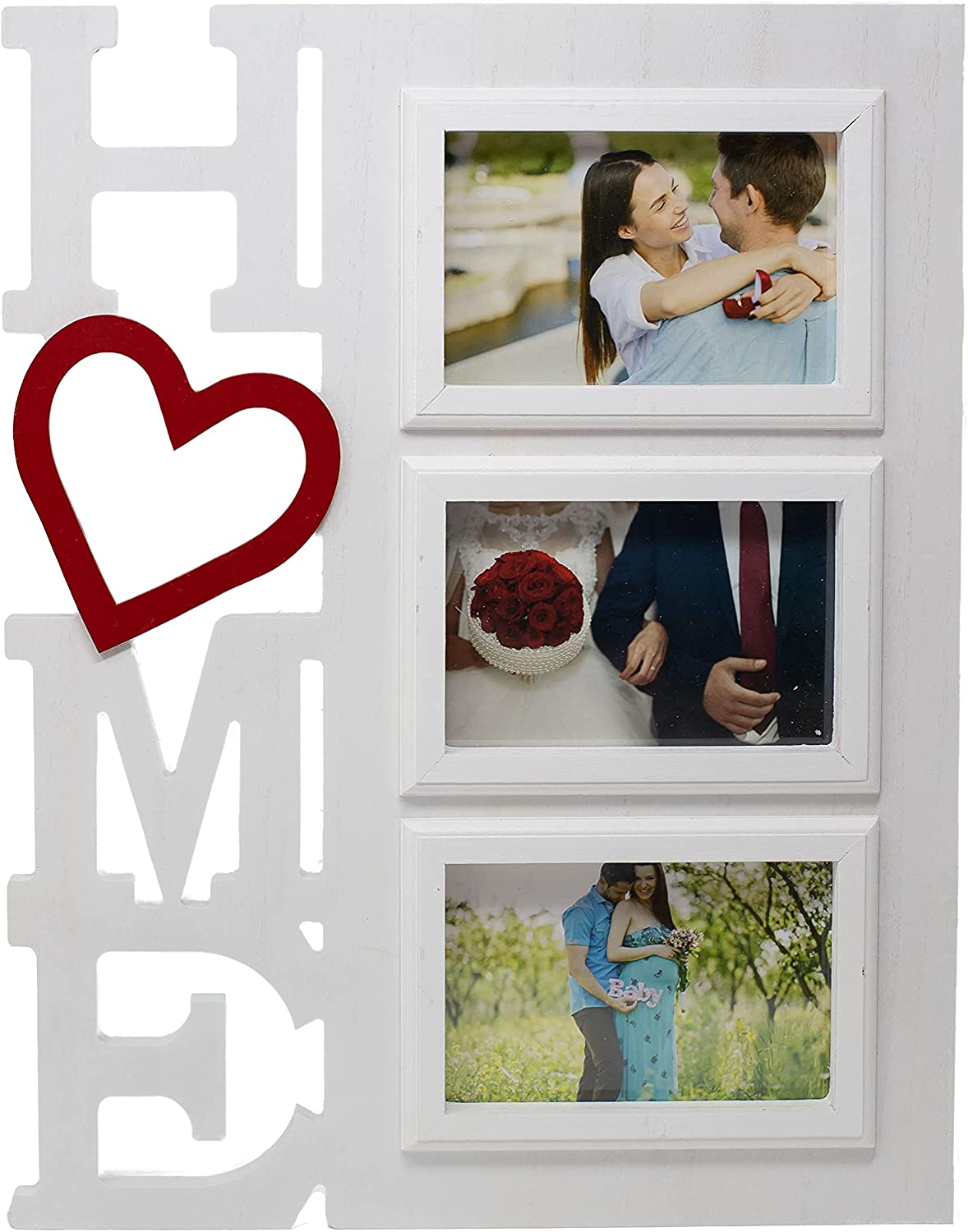 FoxCarr Home Picture Frame w/ three 4x6 openings. Ideal for kitchen, bedroom, living room or hanging in any room. Makes a good gift for someone wanting to create memories with a hanging photo frame