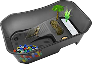RYPET Turtle Tank Aquarium - Reptile Habitat, Turtle Habitat, Reptile Aquarium Tank for Crayfish Crab (Excluding Accessories) Black