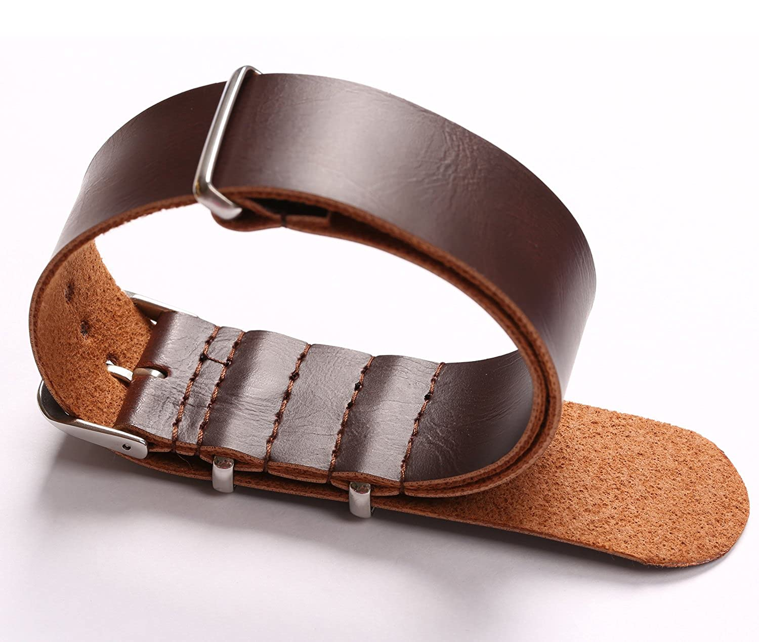 Pasoy 22mm Watch Band Nato Watch Band Mens Brown Synthetic Leather Military Strap Bands Watchbands 22 Mm by Pasoy