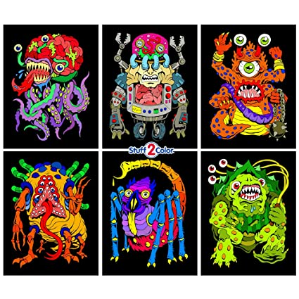 Amazon.com: Stuff2Color Monsters - 6 Pack of Fuzzy Velvet Coloring ...