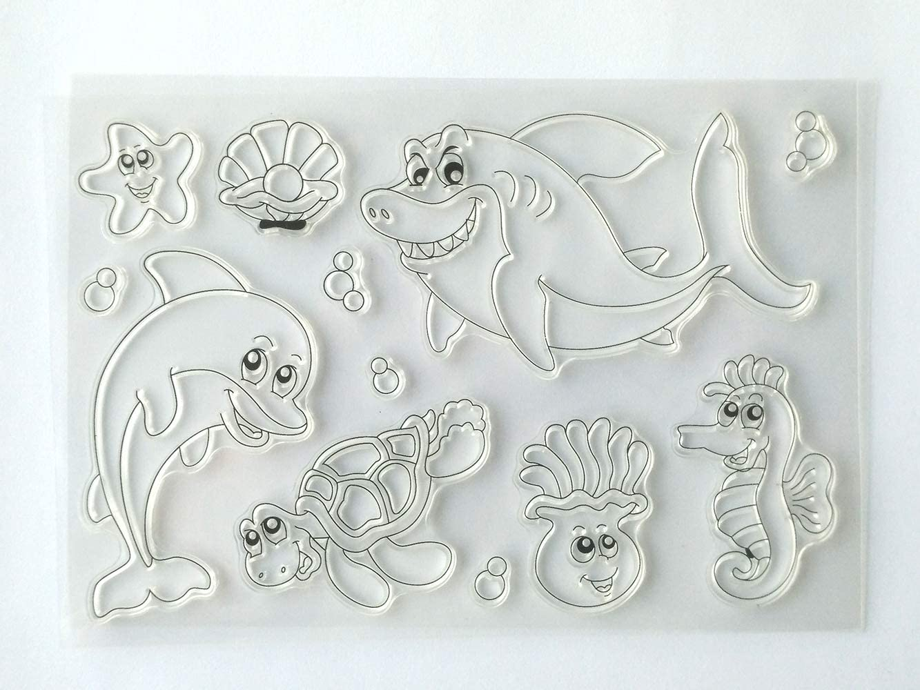 MaGuo Cartoon Sea Animal Clear Stamps Sharks Dolphins Turtles Hippocampus for Card Making Decoration Paper Craft DIY Scrapbooking