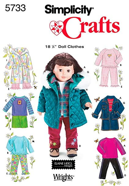 Amazon.com: Simplicity Sewing Pattern 5733 Doll Clothes, One Size ...