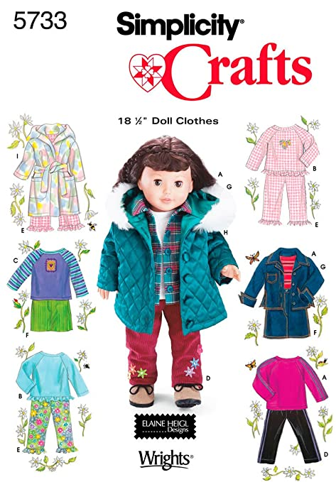 Simplicity Sewing Pattern 5733 One Size Doll Clothes: Amazon.co.uk ...