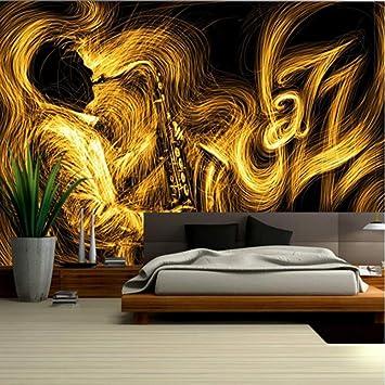 Qbte Astratto Sfondo Oro Musica Migliore Arte Parete Sfondo Camera Da Letto Design Muro Per La Camera 300 210 Centimetri Amazon It Casa E Cucina