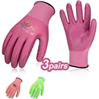 Vgo… 3Pairs Nitrile Coating Gardening and Work Gloves(Size L,Red+Pink+Black,NT2110)
