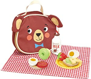 Tender Leaf Toys - Little Bear's Picnic - Pretend Food Play Wooden Picnic Set with Food, Tablecloth and Lunch Bag - Encourage Outdoor Role Play and Develops Social Skills for Children 3+