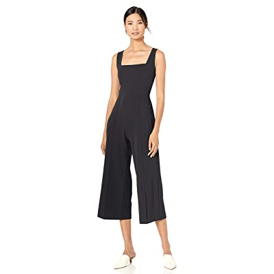 Donna Morgan Women's Square Neck Crepe Sleeveless Cropped Jumpsuit: Clothing
