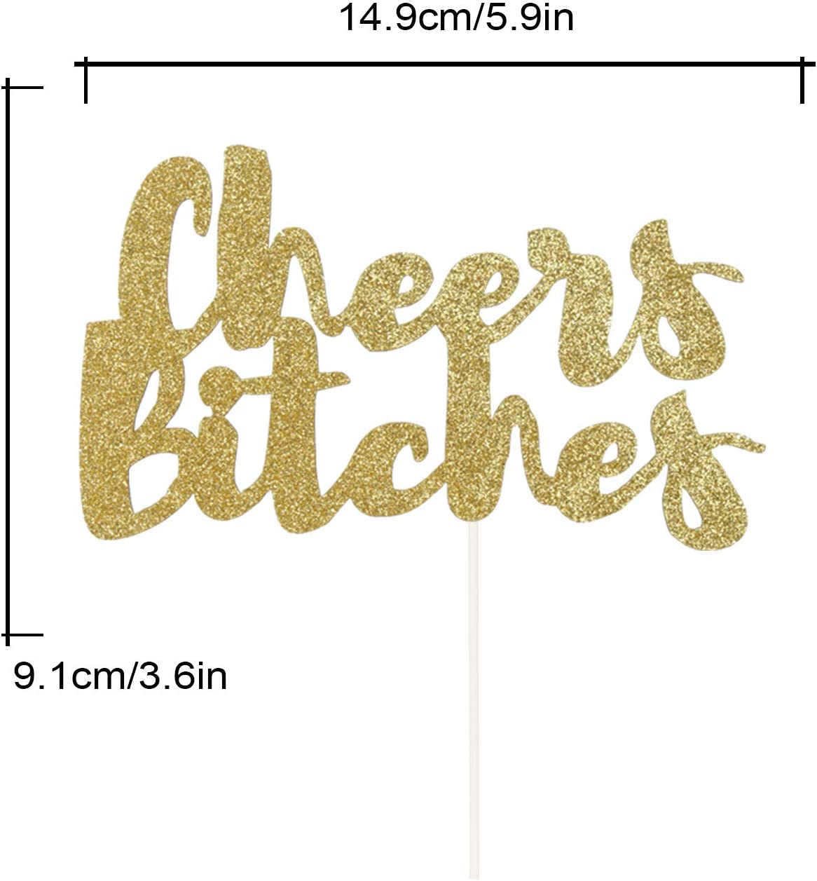 Bitches Love Pie Cake Topper for Bridal Shower Bachelorette Hen Party Decorations Double Sided Gold Glitter