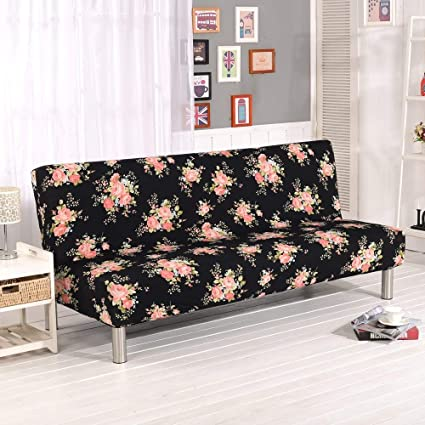 Chitone Universal Armless Sofa Bed Cover Folding Seat Slipcover Modern Stretch Covers Cheap Couch Protector Elastic Futon Cover Spandex