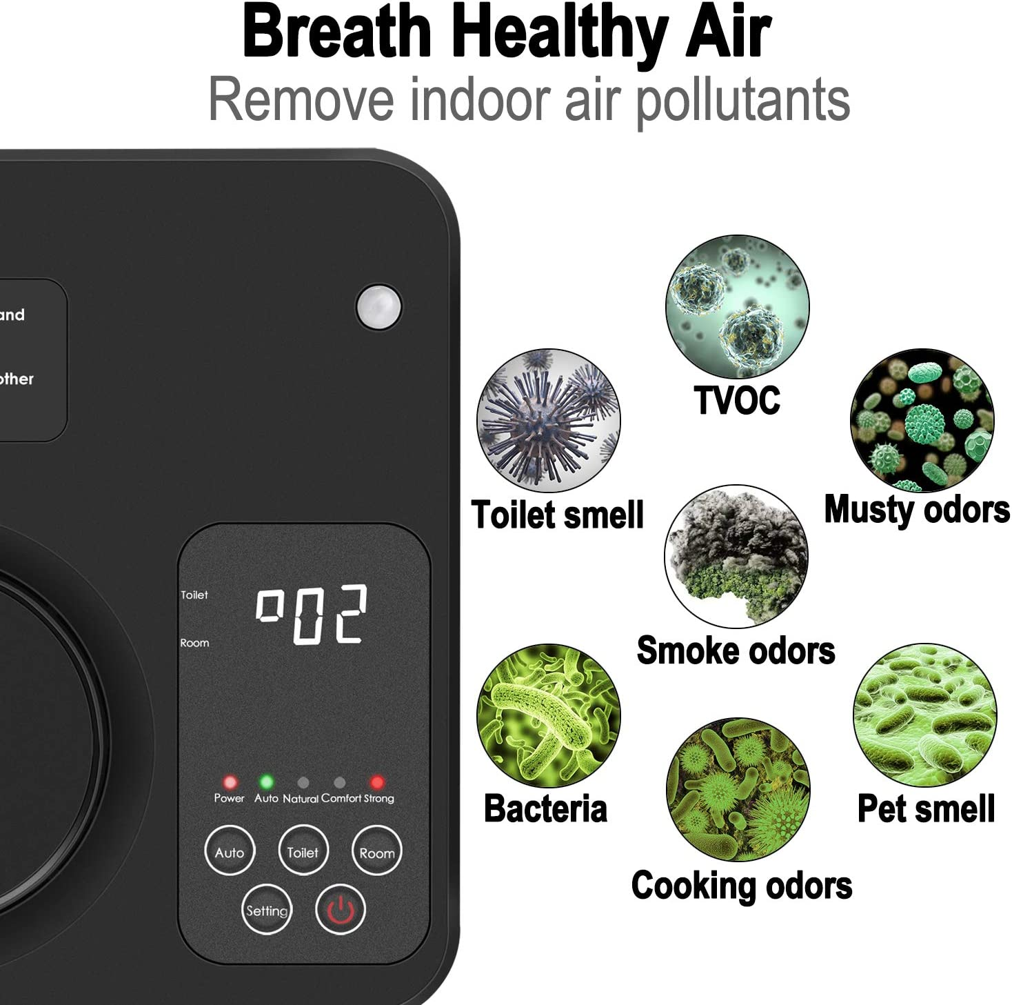 POLAMD Air Purifier for Home, Ozone Air Purifier, Ioniser Air Cleaner for Smoker, Dust, Allergies, Pet, Pollen, Bacteria, Odors and Cooking (Black) Black