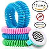 Deet-Free Mosquito Repellent Coil Bracelets for Kids/Adults, 13 Piece Economy Pack, Bonus Clip, Lasts 10 Days, Non-Toxic, Individually Wrapped, Swim-Friendly, Insect Bite Protection, Wrist/Ankle Band