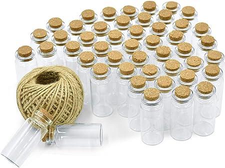 Wandefol 55pcs Botella de Vídrio con Tapón de Corcho, Botella de Mensaje, Botellas Cristales Pequeñas 10ml para Manualidad Decoración con Cordel Transparente a Prueba de Golpe Madera Yute Vídrio