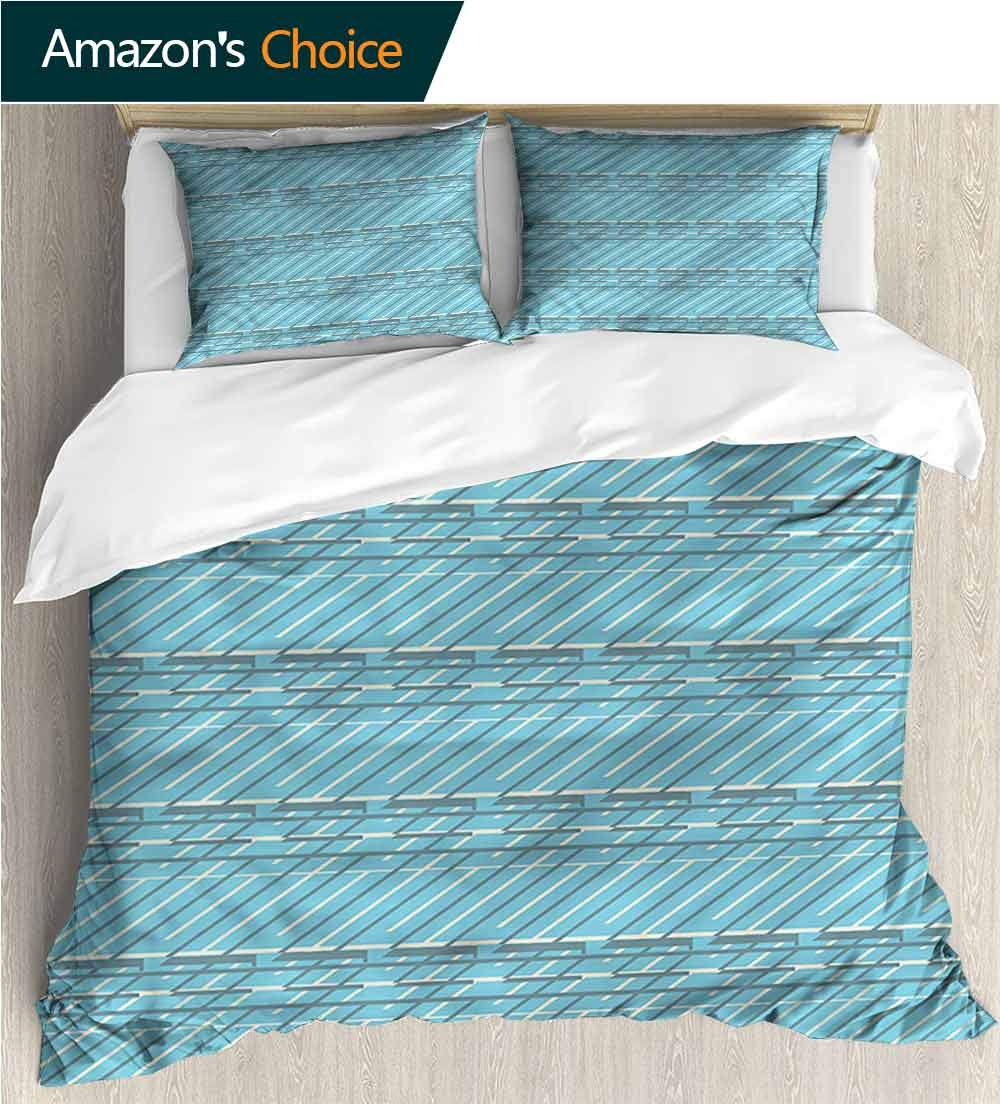 Bedding Sets Duvet Cover Set,Box Stitched,Soft,Breathable,Hypoallergenic,Fade Resistant Bedspreads Beach Theme Quilt Cover Children Comforter Cover-Geometric Oblique Lines Pattern (80''W x 90''L)