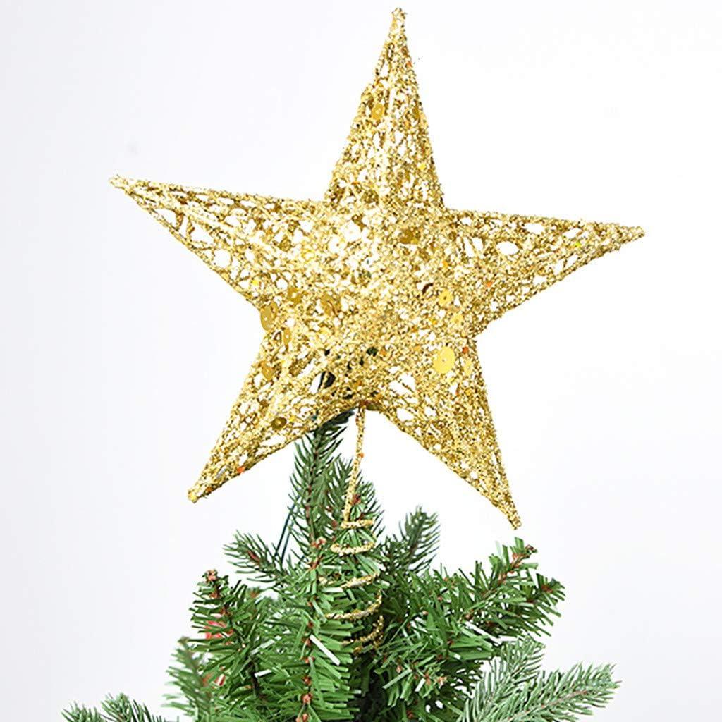 Accessori per la casa della stella Puntale dellalbero di Natale Decorazione natalizia Argento PVC 20 centimetri Glitter Xmas Tree Top Ornament Festival