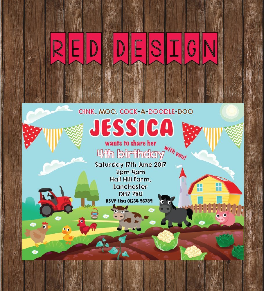 10 Farm Animal Personalised Party Invites Yard Birthday