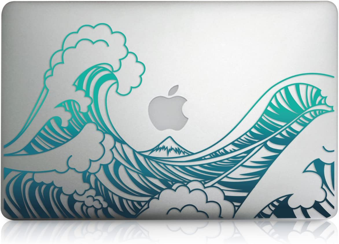 "kwmobile Decal Compatible with Apple MacBook Air 13"" (2011-Mid 2018) - Laptop Skin Decal Cover Sticker - Waves Blue/Dark Blue/Transparent"
