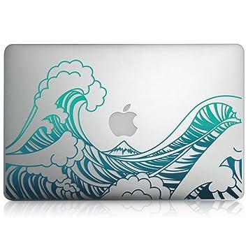 kwmobile Pegatina Sticker diseño de Olas para Apple MacBook Air 13(2011-mediados de 2018) película Skin Protectora para la Parte Delantera Vinilo