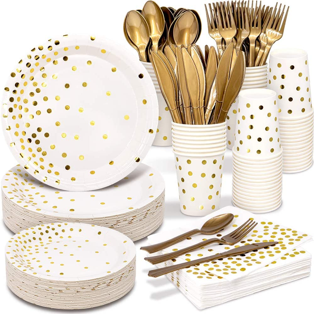 White and Gold Party Supplies 350PCS Disposable Dinnerware Set - White Paper Dinner/Dessert Plates Napkins Cups, Gold Plastic Forks Knives Spoons for Birthday Graduation Fathers Day Independence Day