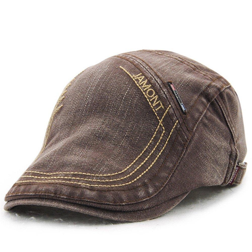 Roffatide Unisex Retro Embroidered Cotton Denim Peaked Cap Duckbill Hat LT2010-1
