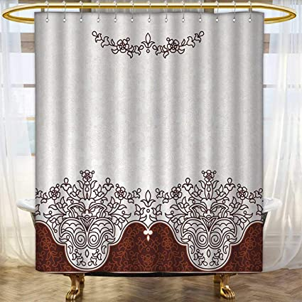 Merveilleux Traditional Shower Curtains 3D Digital Printing Ornate Old Iranian  Classical Frieze Figure With Curved Flowers Traditional