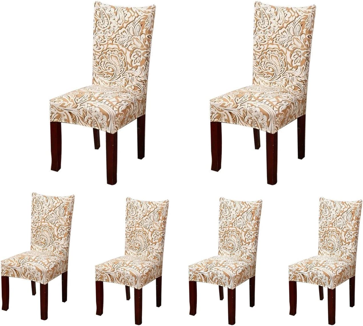 SoulFeel 6 x Soft Spandex Fit Stretch Short Dining Room Chair Covers with Printed Pattern, Banquet Chair Seat Protector Slipcover for Home Party Hotel Wedding Ceremony (Style 2)