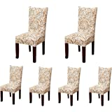 Soulfeel 6 x Soft Spandex Fit Stretch Short Dining Room Chair Covers with Printed Pattern, Banquet Chair Seat Protector Slipcover for Hone Party Hotel Wedding Ceremony (Style 2)