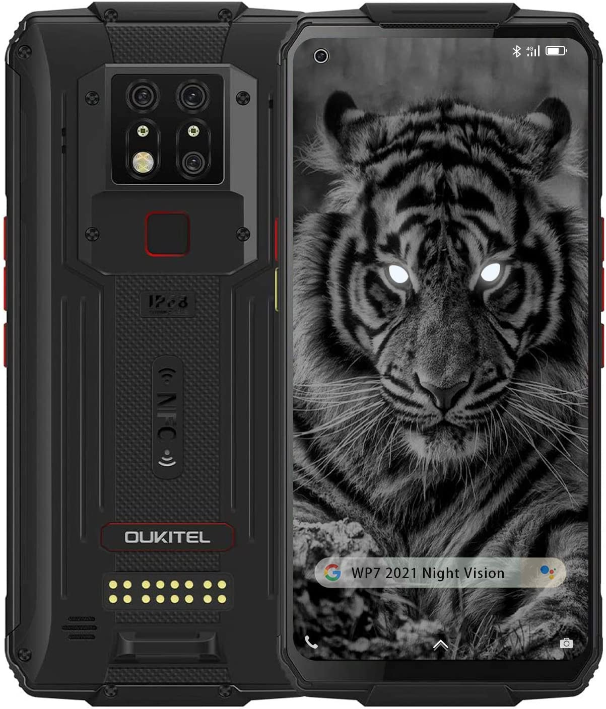 WP7 Rugged Smartphone, 2021 Night Vision Camera 6GB + 128GB Helio P90 Waterproof Unlocked Android 10 Cell Phone 6.53'' FHD+ Global 4G LTE Dual SIM, IP68 Triple Cameras NFC AI Cellphone (6+128 Black)