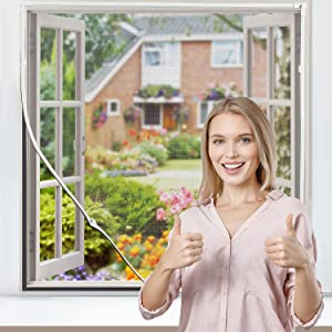 """Magnetic Window Screen Expandable Fiberglass Screen Mesh Max 72"""" x 48""""for Home Windows, Flex Screen Replacement Kit, Cat Proof Window Screen Net, Removable Washable Easy Installation"""