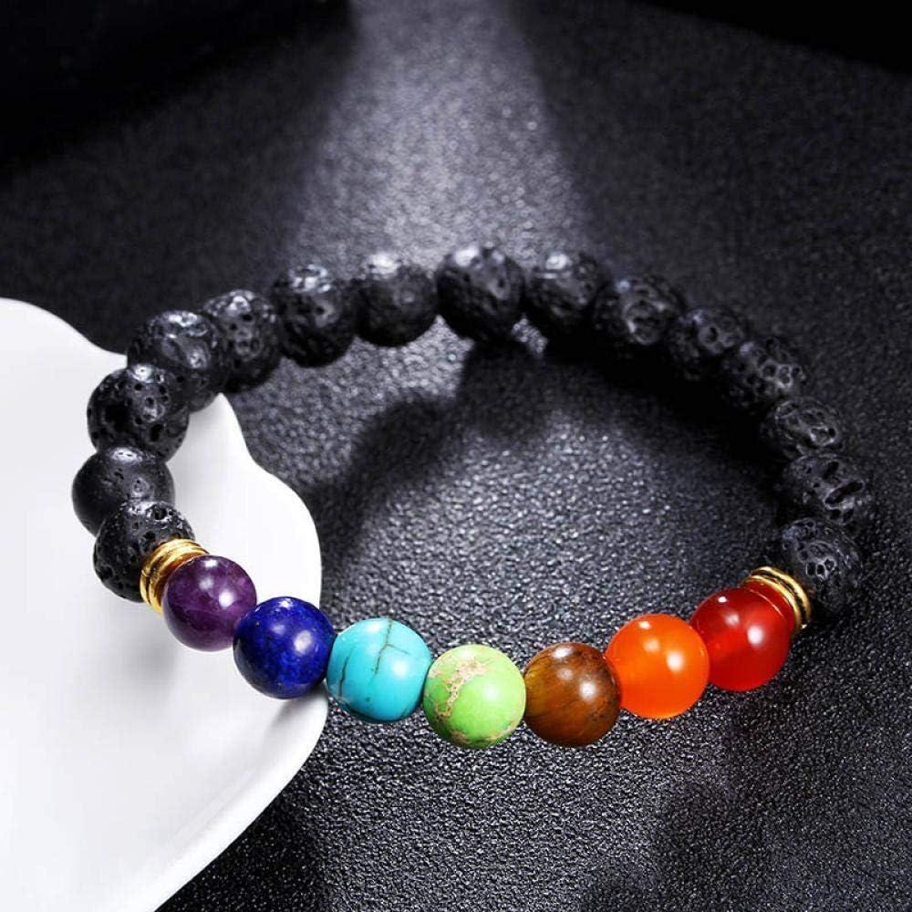 Pulsera Joyas Bracelet Men Women 7 Chakra Bracelets Bangles Colors Mixed Healing Crystals Stone Chakra Pray Mala Heart Charm Bracelet Jewelry