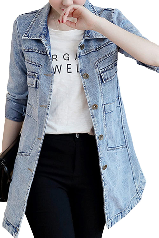 sandbank Womens Cute Slim Fit Lightweight Jean Denim Cotton Jacket Coat Outwear