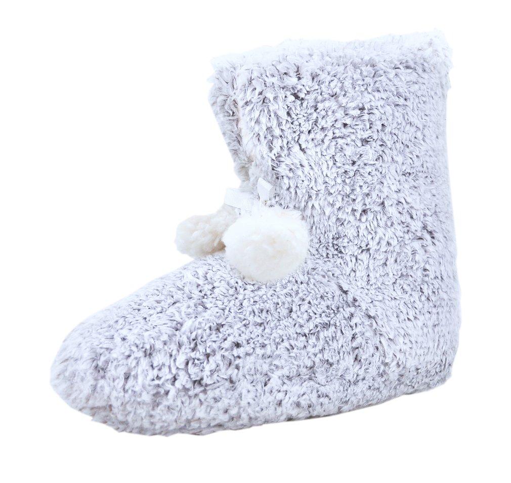 The Best Gift For Winter! Hans & Alice Warm Indoor Women's Memory Foam Sweater Knit Pom Bootie Slippers (M, Boots)