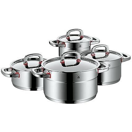 WMF Premium One Batería de Cocina, Acero Inoxidable Pulido, 4 ollas
