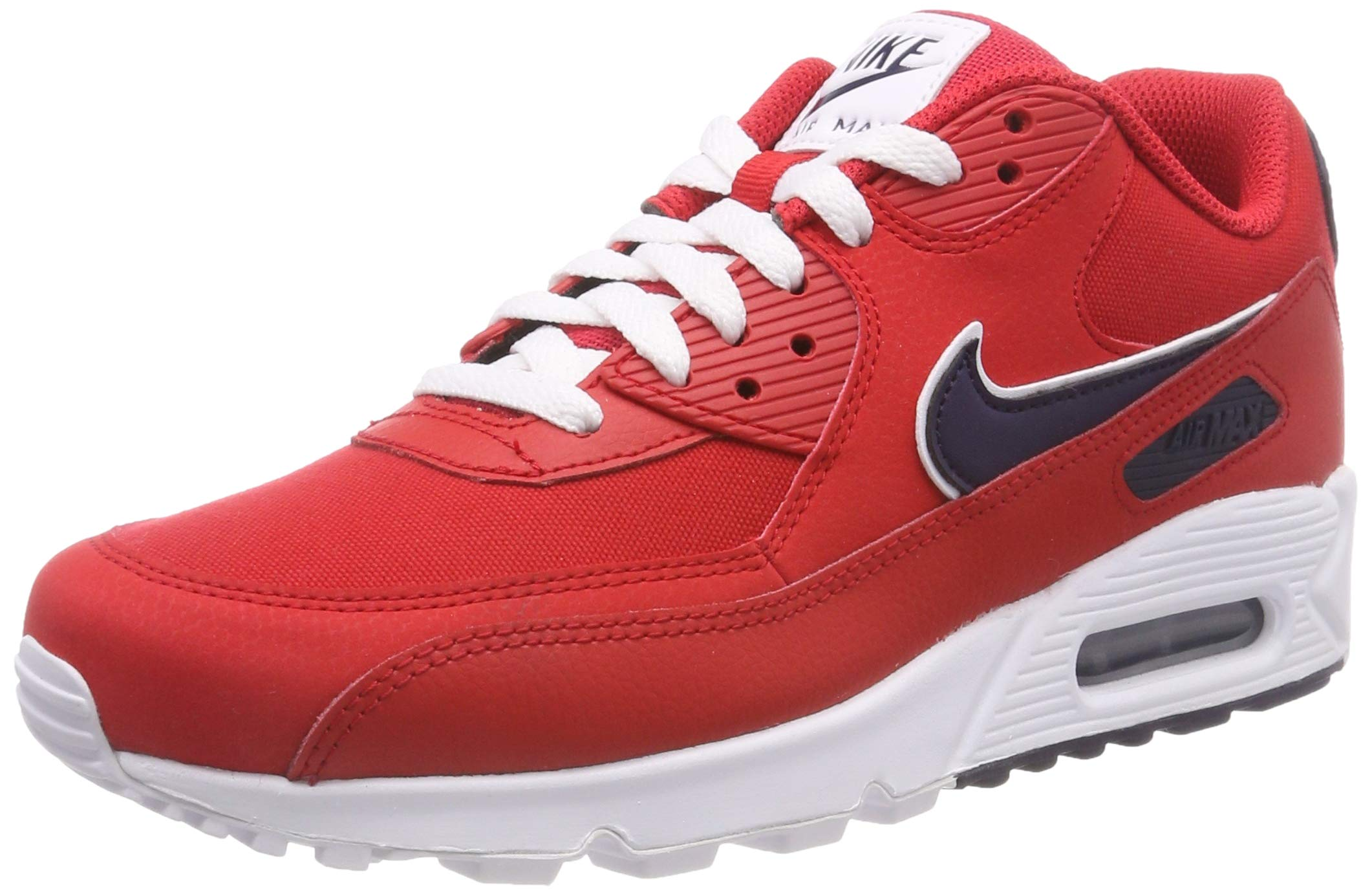best sneakers 56e96 d1c2b Galleon - Nike Mens Air Max 90 Essential Running Shoes University  Red Blackened Blue White AJ1285-601 Size 10